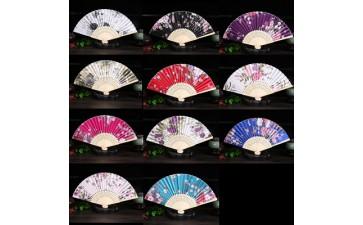 中国风工艺品女扇_厂家直销竹骨中国风女扇复古绸布扇日式和风折扇可选颜色-- 黄斌