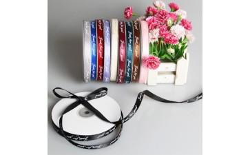 包装材料_新款鲜花包装材料 1.0cm英文款 压纹绸带 礼品包装带-- 义乌市唐德工艺品有限公司
