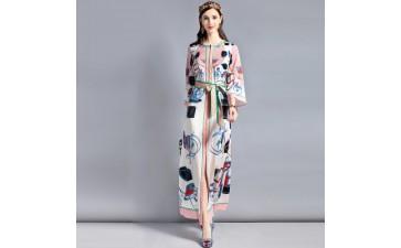 新款女装_欧美时尚新款2018圆领气质系带印花暗扣长袖长裙连衣裙-- 深圳依丽娜服饰有限公司