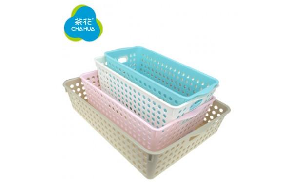 塑料桌面文具_圆点收纳筐大号零食收纳篮塑料桌面文具l/m/s/xl