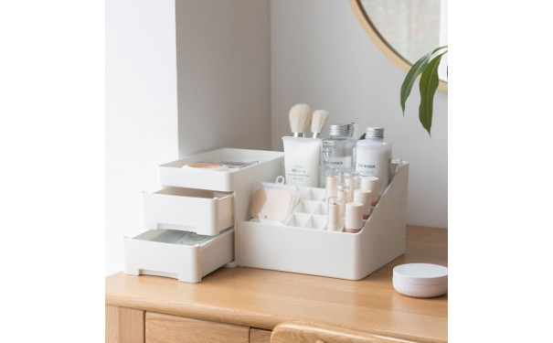 塑料置物架_厂家桌面抽屉式化妆品收纳盒梳妆台口红收纳塑料置物架