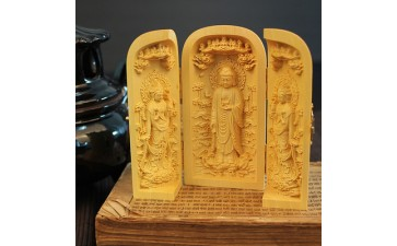 木质工艺品_厂家黄杨木雕西方娑婆三圣关公三开盒木质工艺品摆件