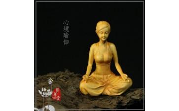 家居摆件_黄杨家居人物摆件 瑜伽美女工艺品禅意宠文批发