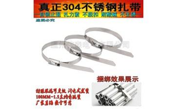 不锈钢扎带_304不锈钢扎带 喷塑不锈钢扎带 优质自锁式金属4.6*300mm特价-- 温州依森电气有限公司